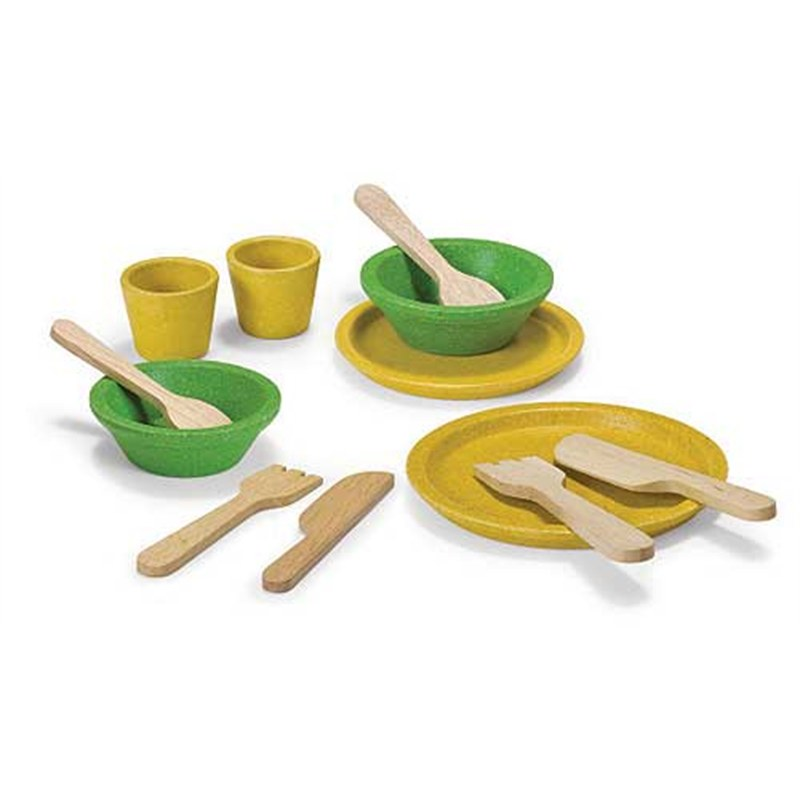 Keuken Kind Hout : Houten tafelgerei Plantoys van gerecycled hout