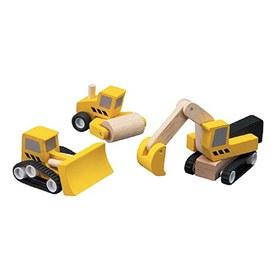 Image of Houten graafmachine, wals en bulldozer