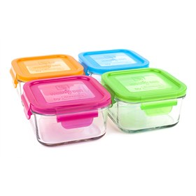 Lunch Cube 210 ml glas set van vier Wean Green
