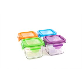 Snack Cube 210 ml glas set van vier Wean Green