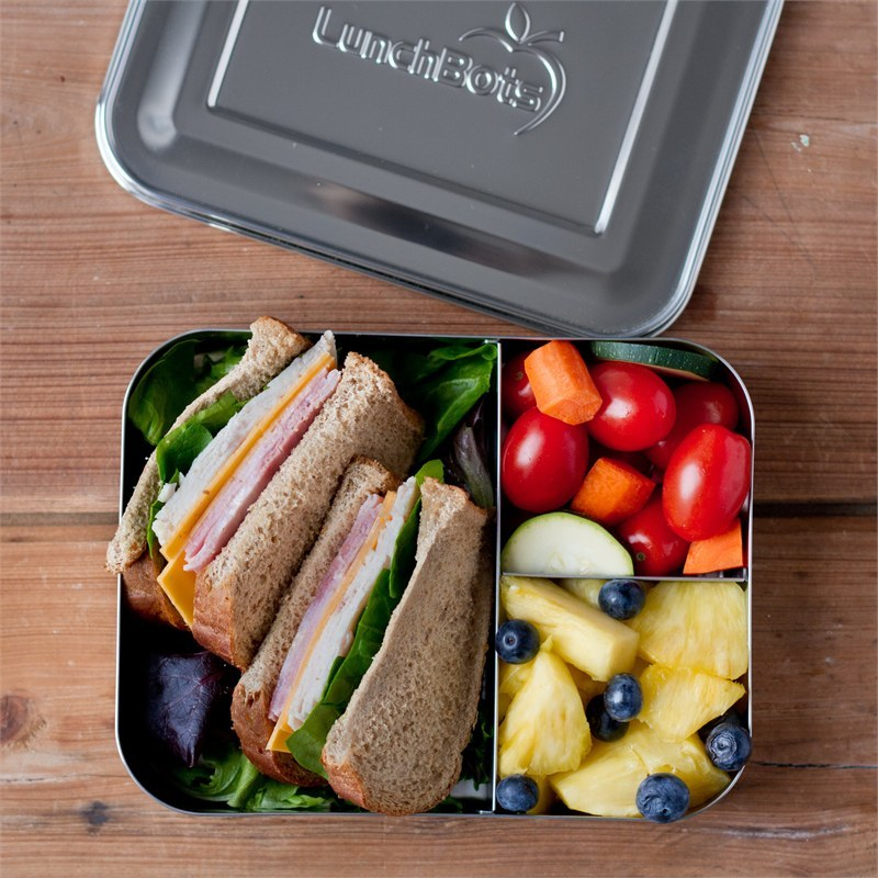 lunchbots bento lunchbox rvs broodtrommel 20x15x4 trio. Black Bedroom Furniture Sets. Home Design Ideas