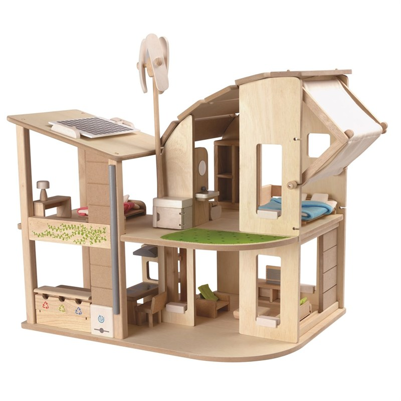 Compleet ecologisch houten poppenhuis plantoys green dollhouse for Poppenhuis hout