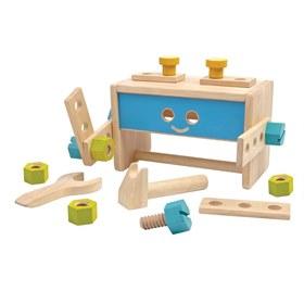 Houten speelgoed gereedschapskist robot