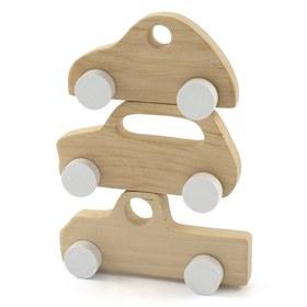 Houten auto speelgoed en decoratie set Vintage