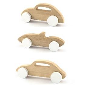 Houten auto speelgoed en decoratie set Sport